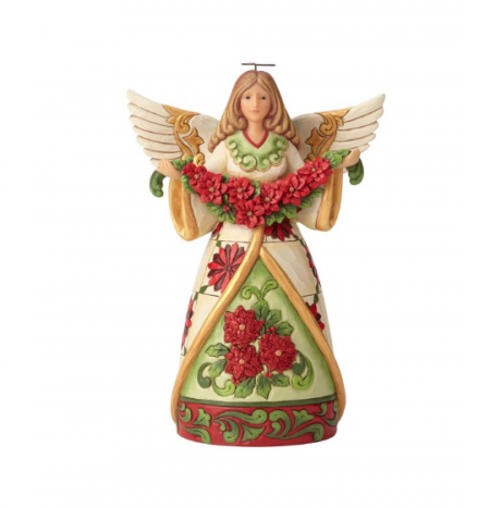 Angel With Poinsettia Garland | Jim Shore