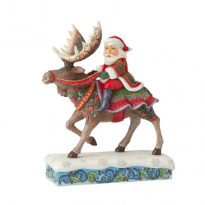 Santa Riding Moose | Jim Shore
