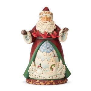 Santa With Cardinal Garland | Jim Shore