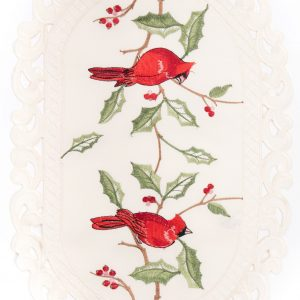 Destination Christmas|Embroidered Bird Linen