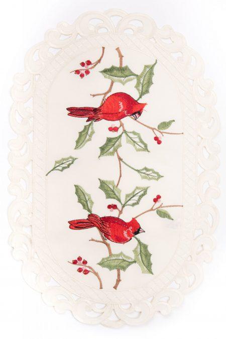 Destination Christmas|Embroidered Bird Linen
