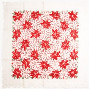Destination Christmas|Embroidered Flowers Linen-Square